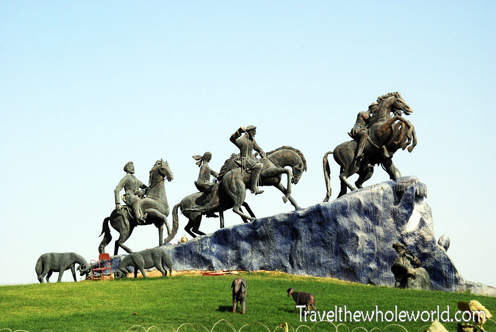 Afghanistan Mazar Sharif Horse Statue Buzkashi Monument