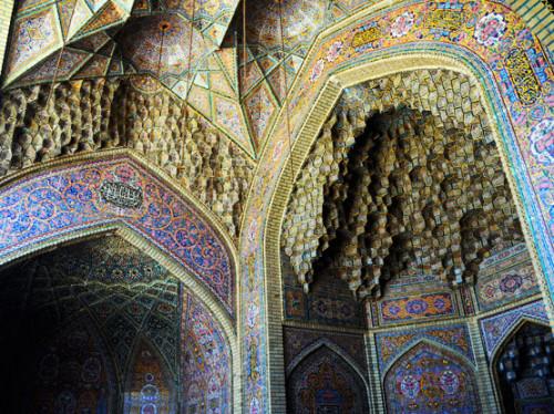 Iran Shiraz Nasir Al Mulk Mosque Ceiling
