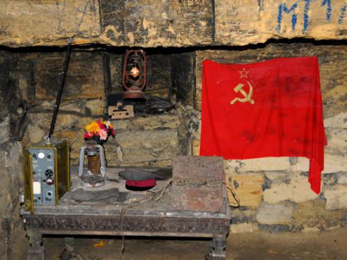 Ukraine Odessa Catacombs Soviet Flag