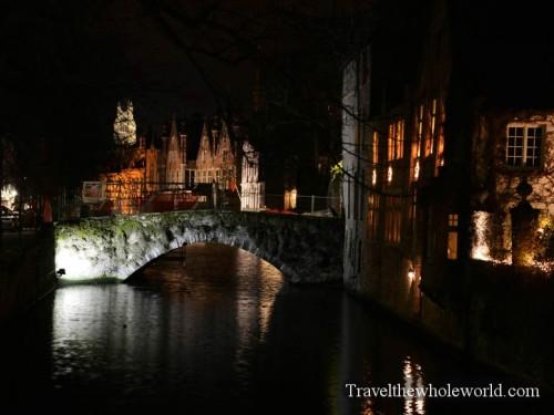 Belgium Bruges Canals Night