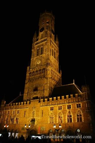Belgium Bruge Grote Markt Belfry Night