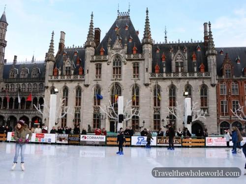 Bruge Grote Markt Skating Provinciaal Hof Provincial Palace