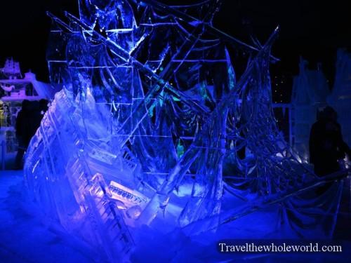 Belgium Bruge Ice Sculpture Festival Ship