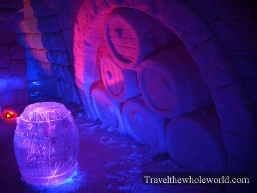 Ice Hotel Barrels Sculptures