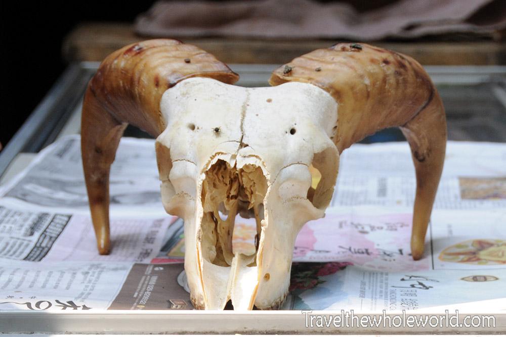 China Xian Meat Market Skull