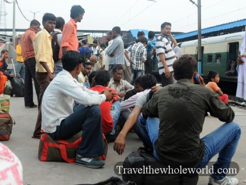 India New Delhi Train Station People