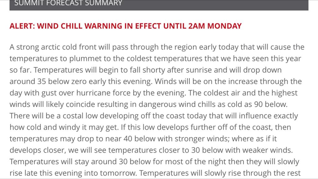 New Hampshire Mt Washington Extreme Forecast
