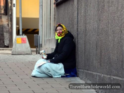 Sweden Stockholm Homeless Woman