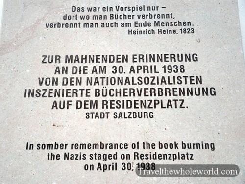 Austria Salzburg Nazi Book Burning Memorial
