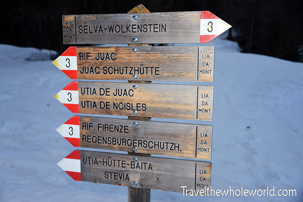Travel Photos Italy Dolomite Trail Sign