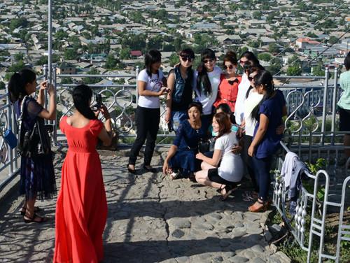 Kyrgyzstan Osh Sulaiman Too Sacred Mountain Girls