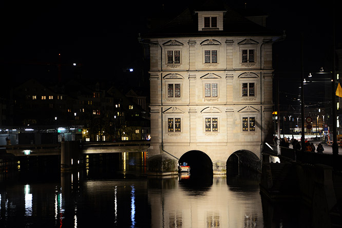 Switzerland Zurich Limmat Night