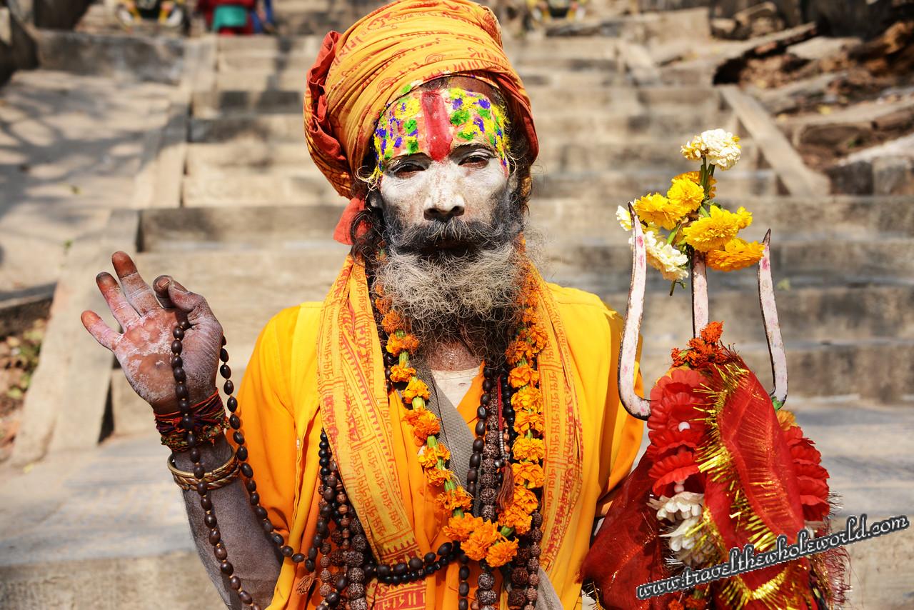 Nepal Kathmandu Monkey Temple Holy Man