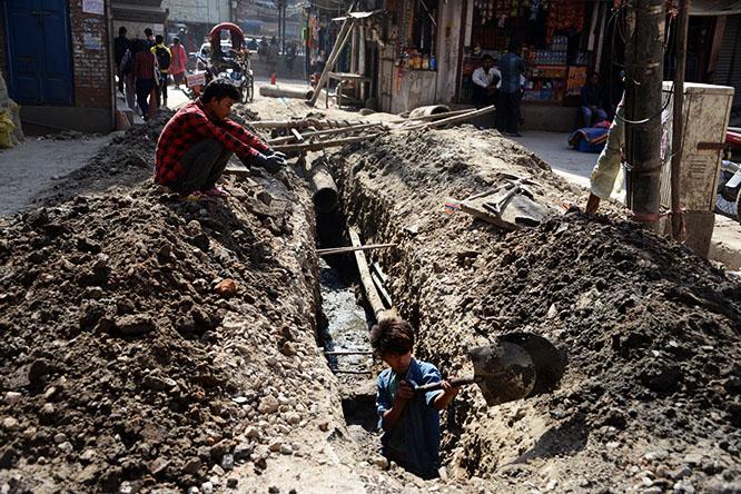 Nepal Kathmandu Road Work