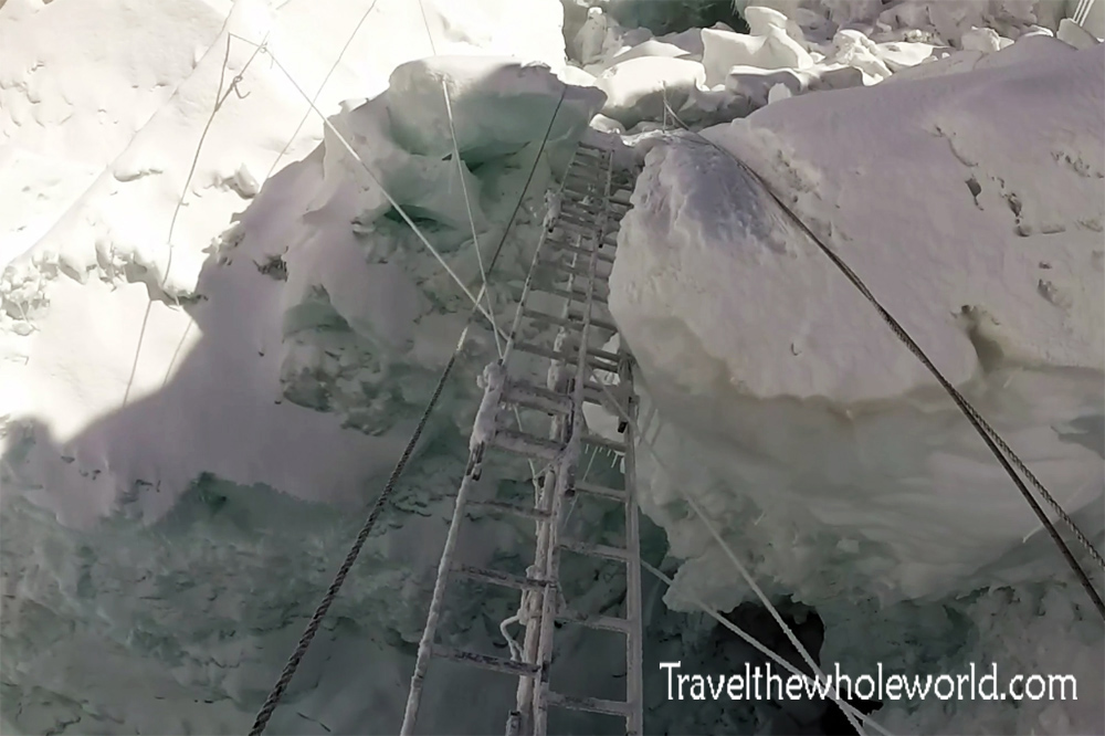 Nepal Mt Everest Khumbu Icefall Double Ladder