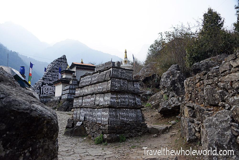 Nepal Khumbu Valley Lukla Buddhist Stones