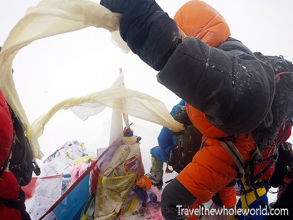 Climbers on the Summit Everest