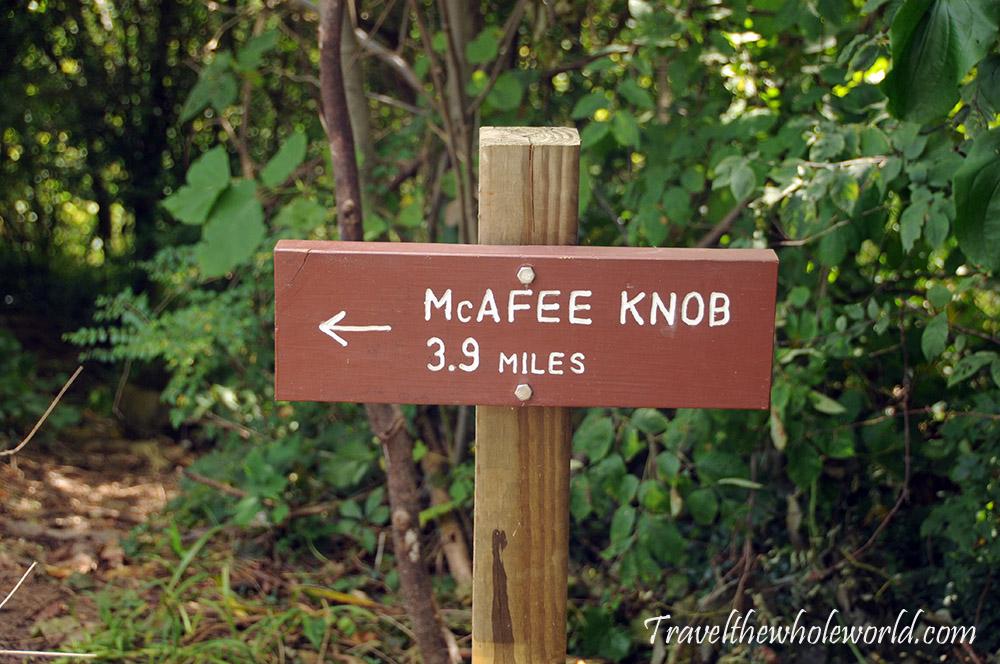 Virginia Appalachian Trail McAfee Knob Trail Sign
