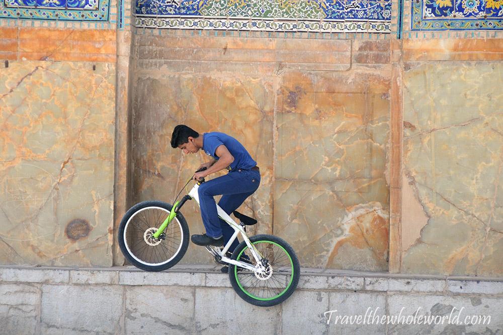 Iran Esfahan Mosque Bike Tricks
